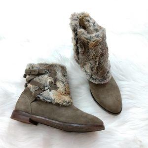 Johnston & Murphy faux fur suede boots